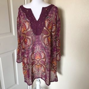 East 5th paisley long sleeved blouse size 3X